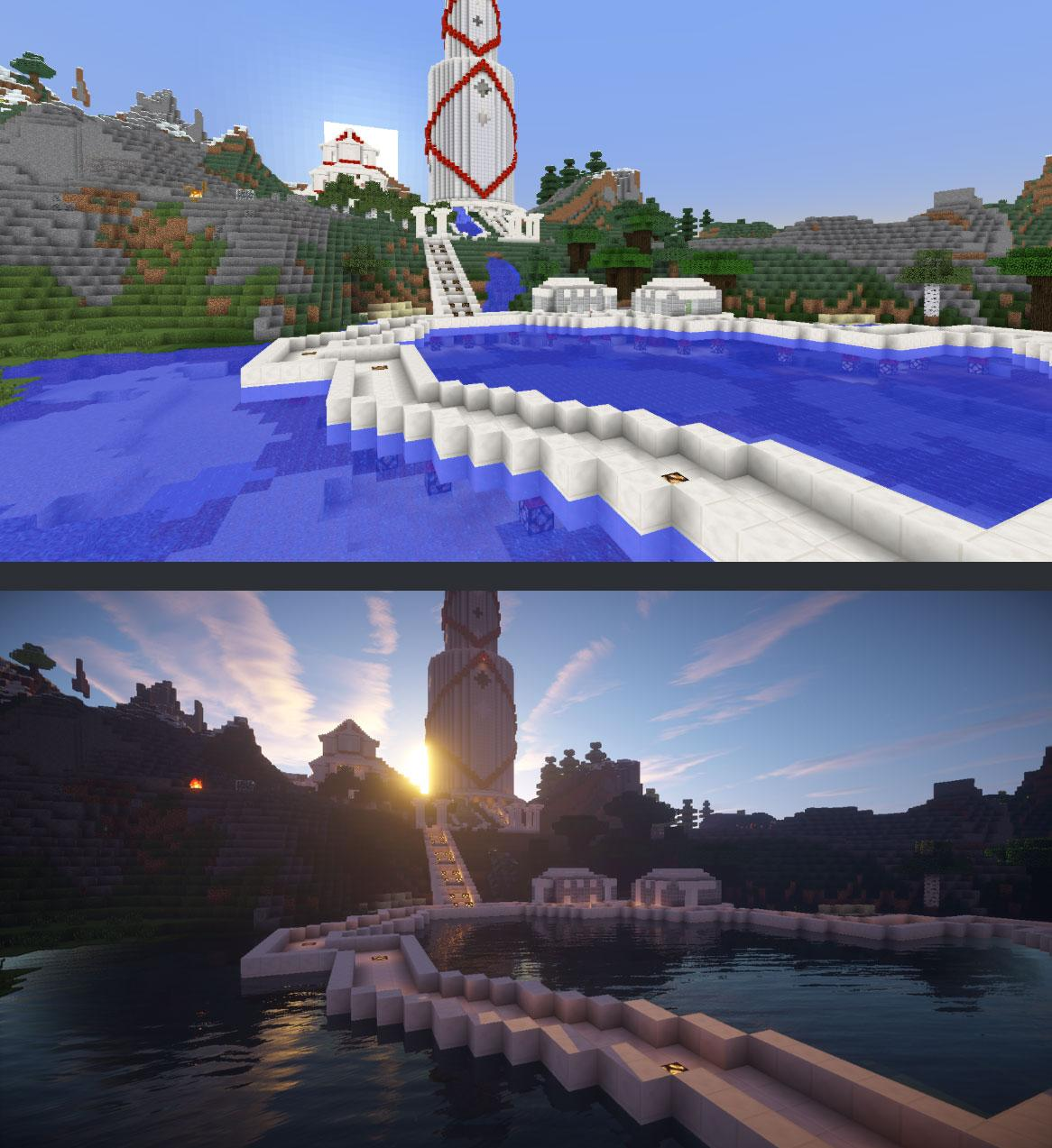 Minecraft before and after shaders. How could you go back?